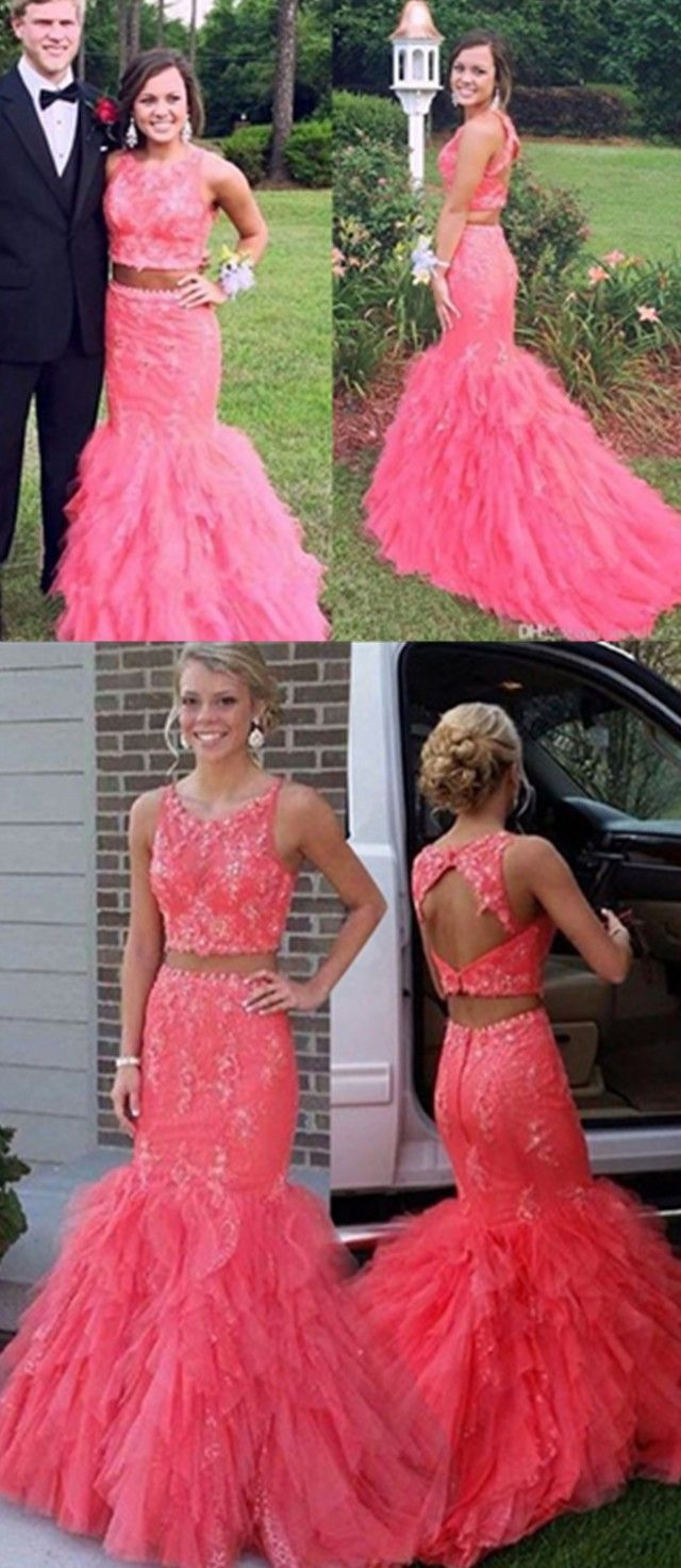 Blush pink prom dresses two pieces prom dresses ruffles skirt