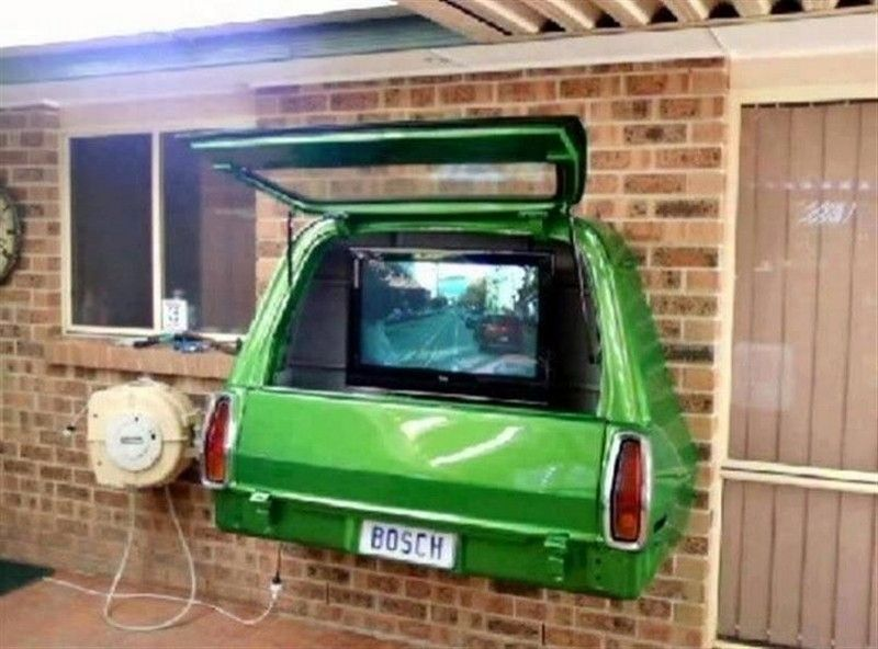 Repurposed Car Parts   Tv Cabinet Using The Rear End Of A Car