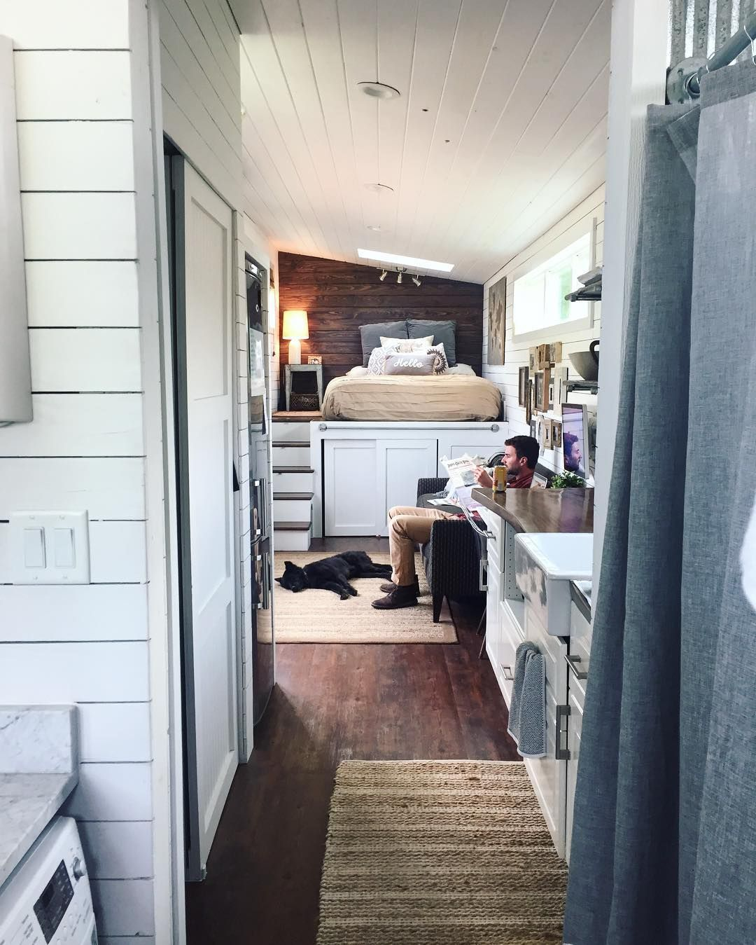 View toward kitchen the alpha tiny home by new frontier tiny homes - House No Loft Tiny