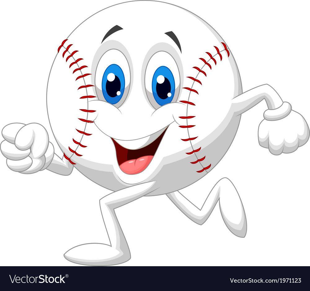 Cute Baseball Ball Cartoon Running Vector Image On Vectorstock Cute Cartoon Drawings Cute Clipart Cartoon Illustration