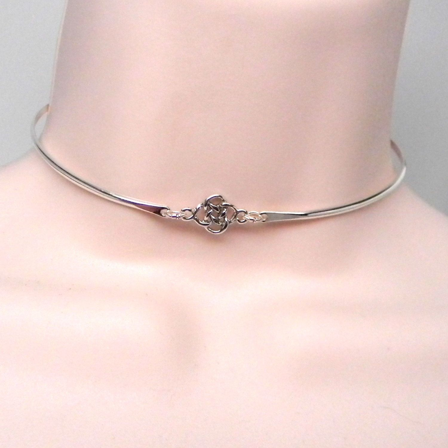 A Bit O Irish Celtic Knot Sterling Silver Public Day Collar with Celtic Knot Focal and Magnetic Button Clasp by MockingbirdLaneWire on Etsy