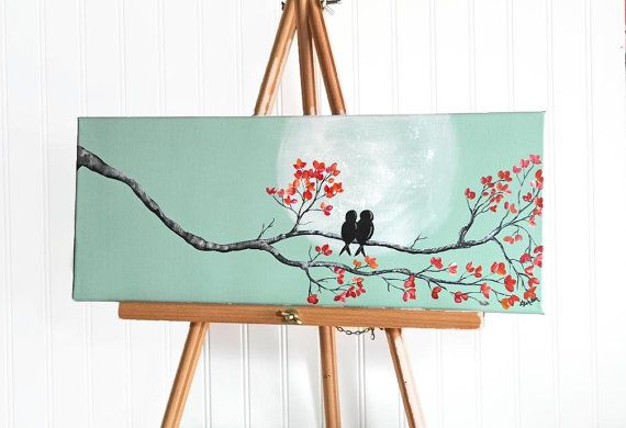 original canvas painting love bird painting mint and coral wedding gift for couple love birds. Black Bedroom Furniture Sets. Home Design Ideas