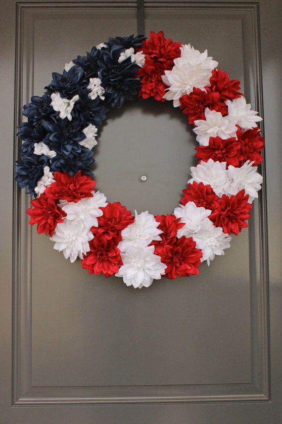 Patriotic 4th Of July Red White And Blue American Flag Silk Flower Front Door Wreath Custom