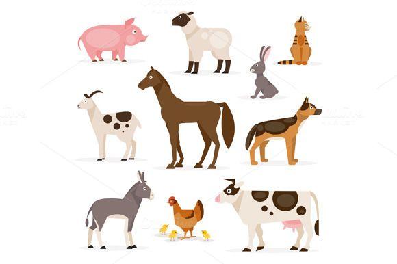 Set Of Farm Animals Vector Animal Illustration Farm Animals Animals