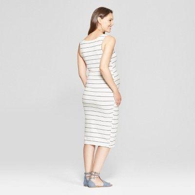 ab8ab110453c Maternity Striped Shirred Tank Dress - Isabel Maternity by Ingrid & Isabel  White XL, White Stripe