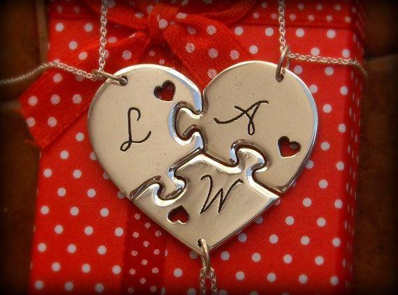 Tres piezas personalizado Puzzle Corazón con iniciales los   Etsy