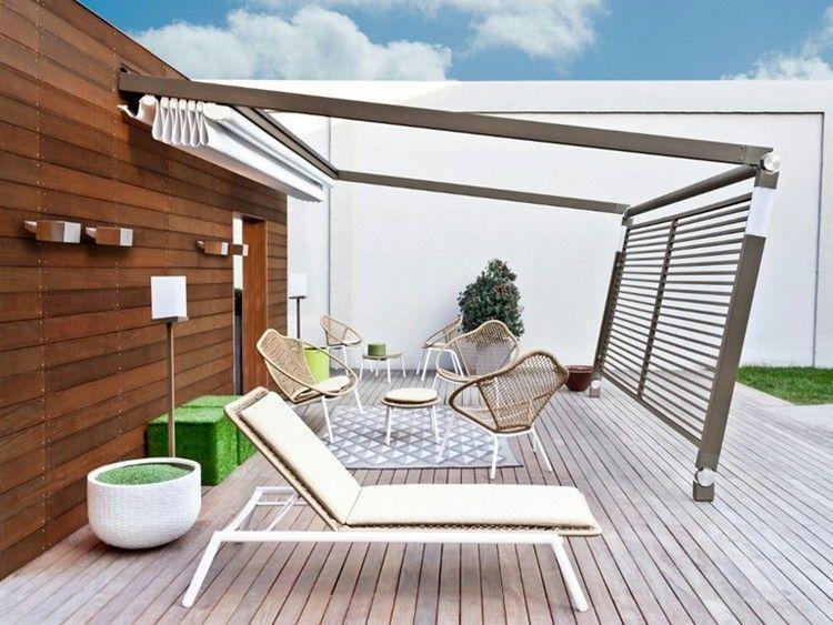 moderne-pergola-alu-faltdach-terrasse-angebaut-PERGOTENDA-MOVE - Terrasse Sur Pilotis Metal