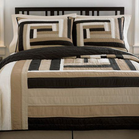 Better Homes And Gardens Matroyshka Geometric Quilt Black Tan