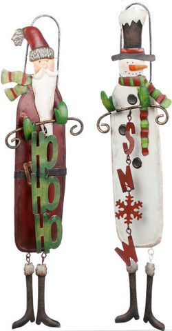 """14"""" Metal Santa Claus and Snowman Ornaments; These metal whimsical Snowman and Santa Claus ornaments are 14"""" tall.  Whether you are looking for something fun to put on your tree or to hang on chandeliers or doors, these decorations will bring a smile to all."""