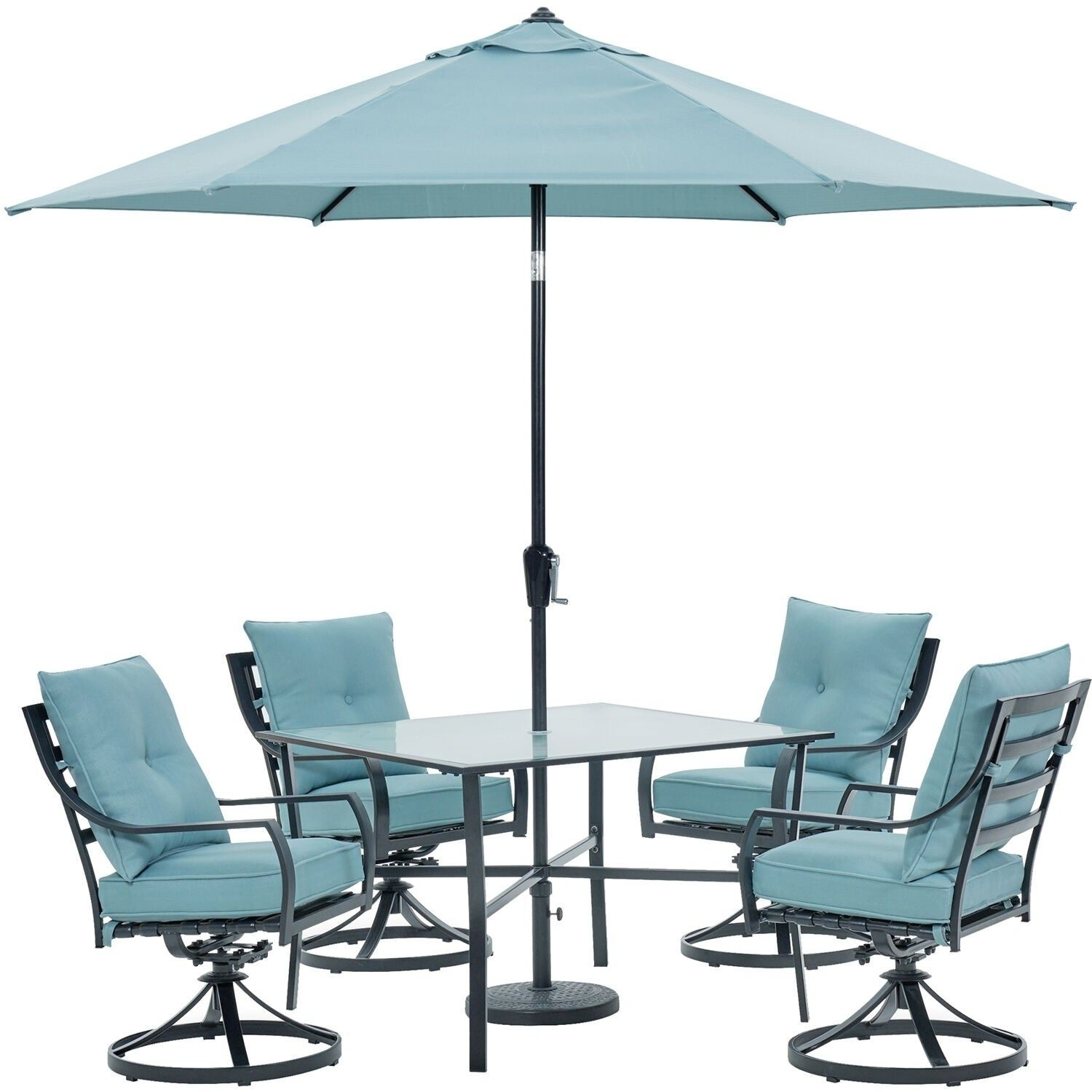 Hanover Lavallette 5 Piece Dining Set In Ocean Blue With 4 Swivel