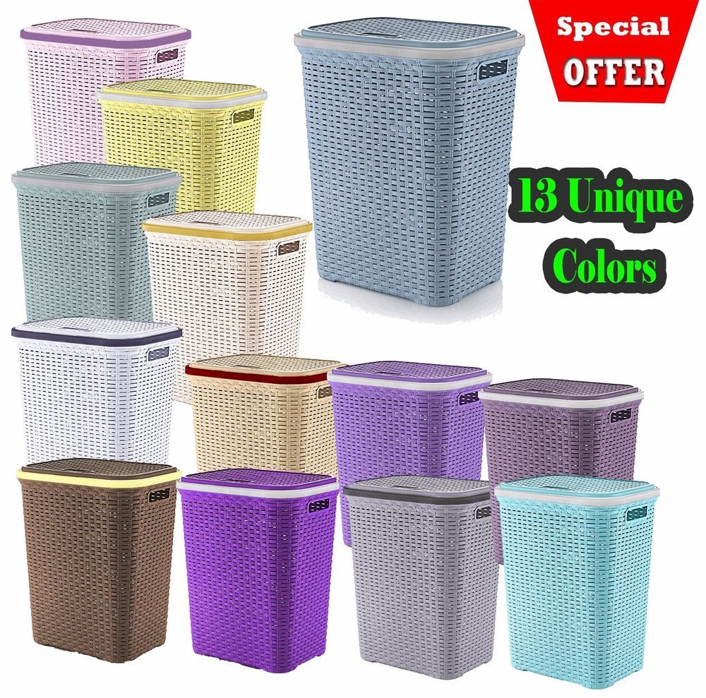 Details About Plastic Laundry Basket Large Washing Clothes Bin