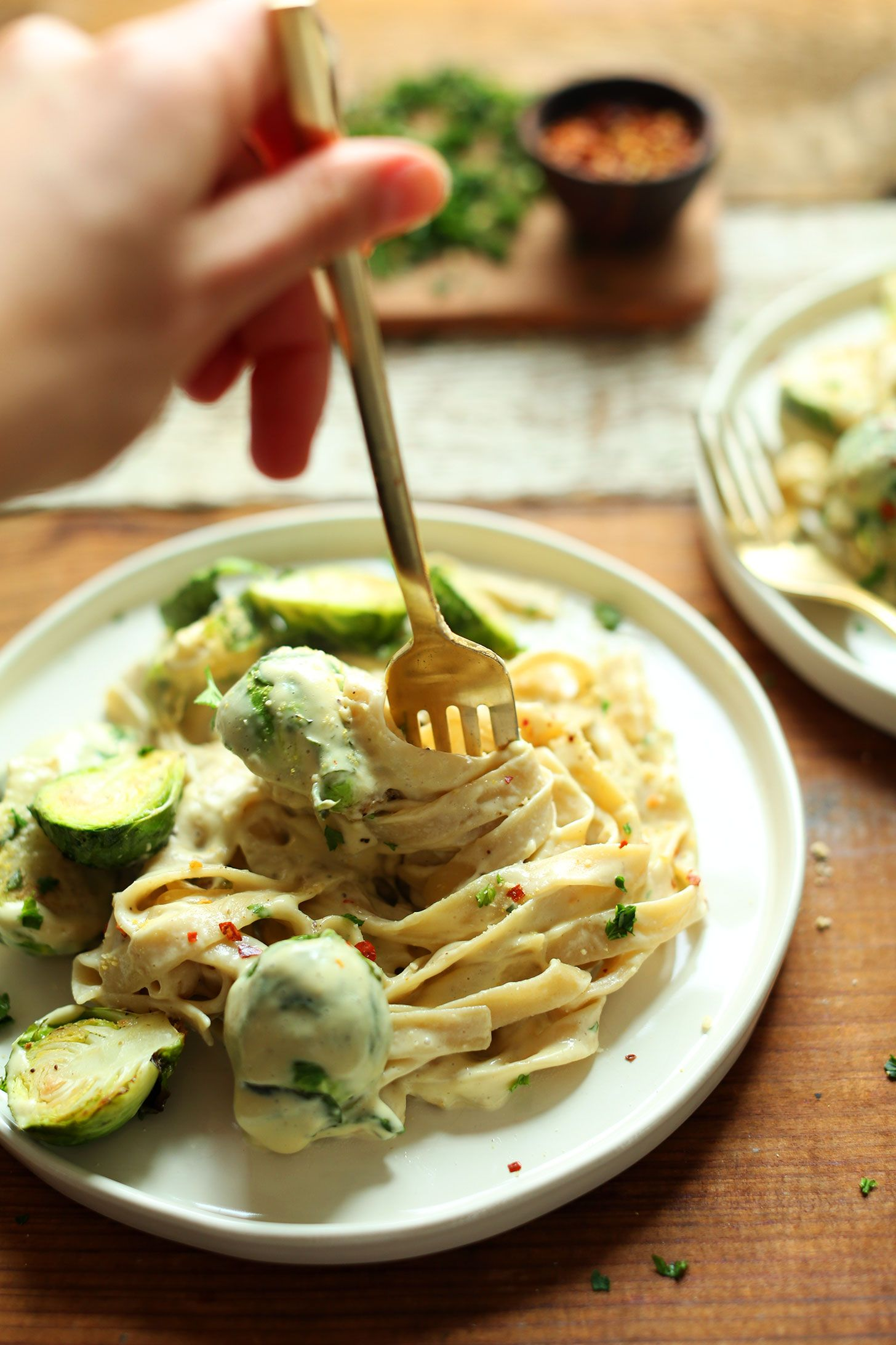 Garlic And White Wine Pasta With Brussels Sprouts