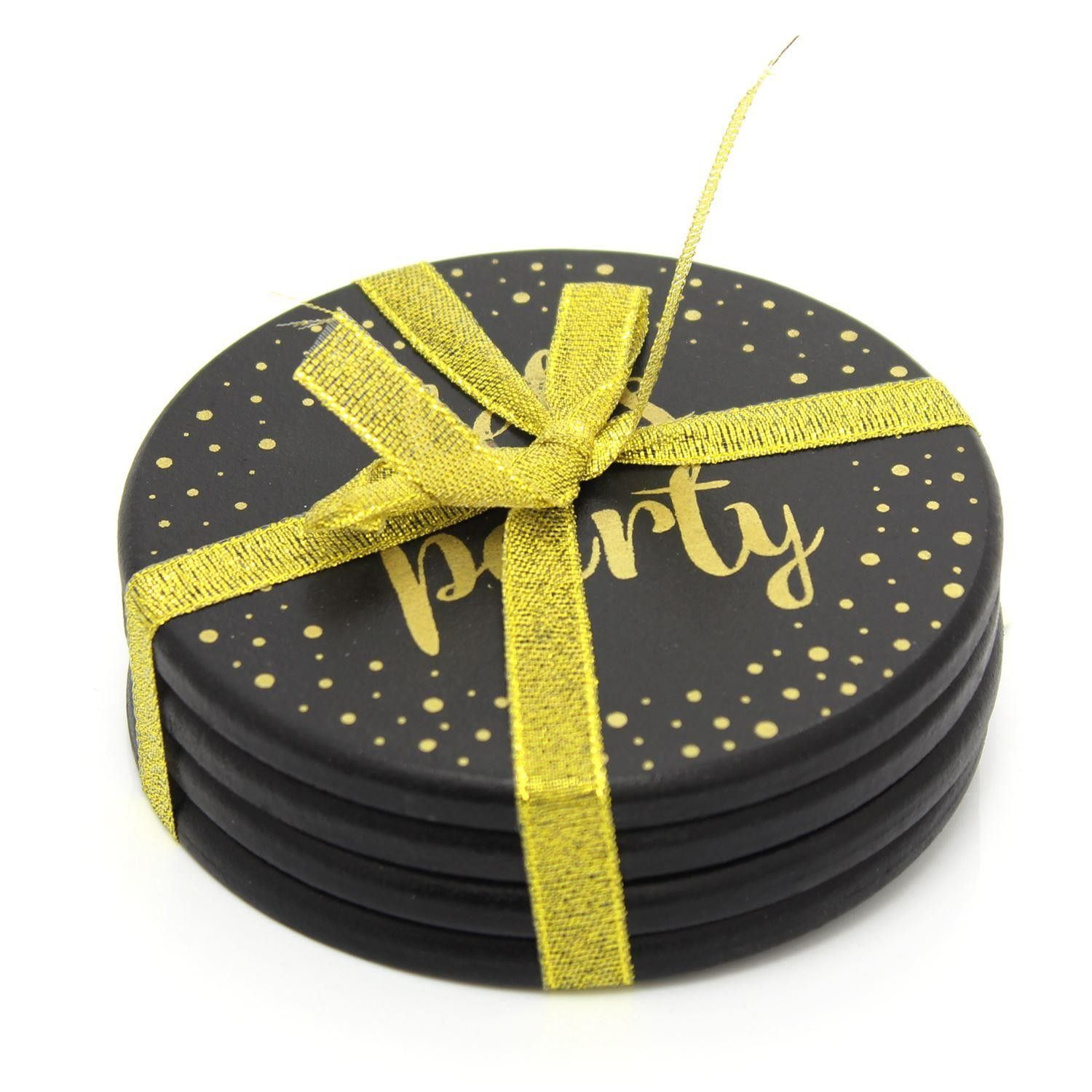 Gorgeous Set Of 4 Black And Gold Round Drinks Coasters Cup Mug Table Mats Drink Coasters Coasters Mugs