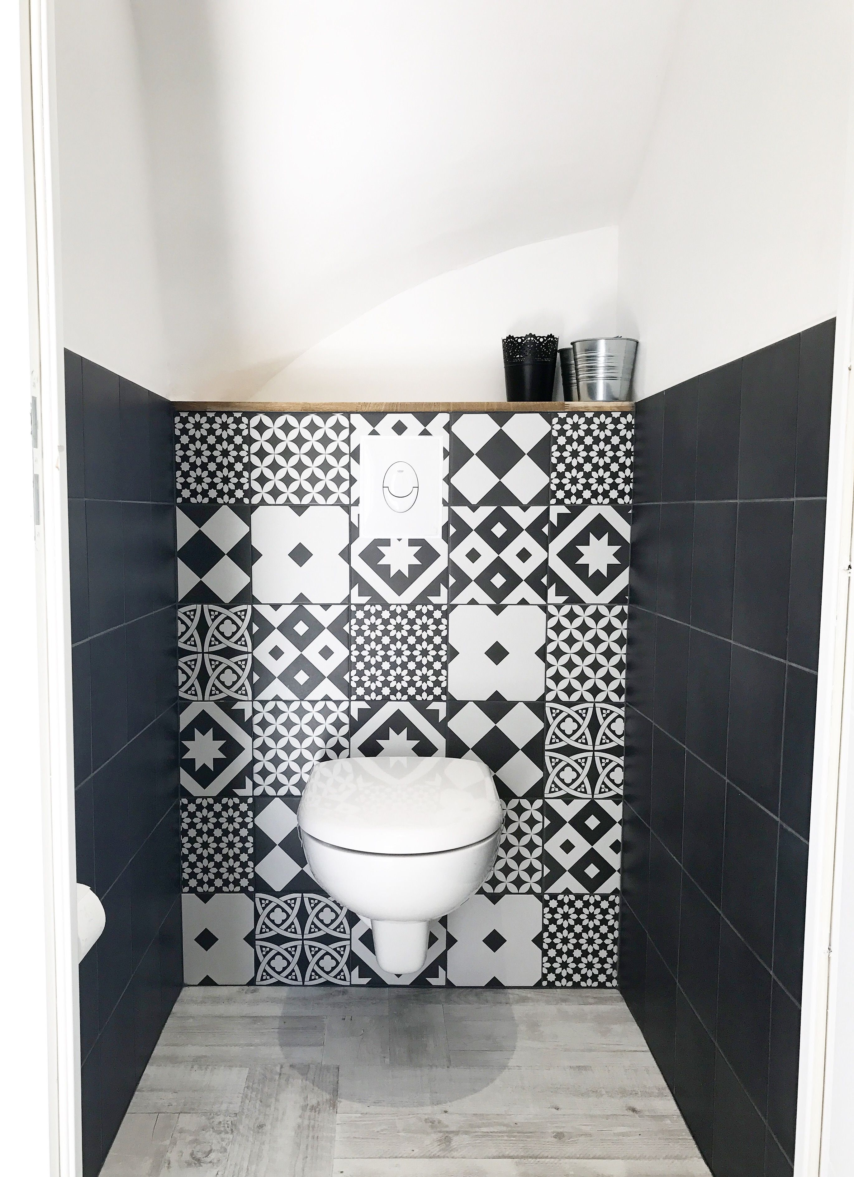 Wc Faiences Carreaux De Ciment Et Carreaux Noirs Leroy Merlin Wc Faiences Carreaux De Ciment De Idee Deco Toilettes Decoration Toilettes Deco Toilettes
