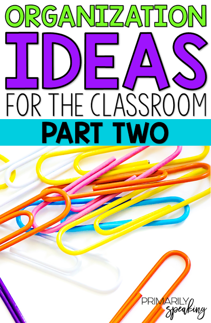 Great tips for organizing materials in the classroom.  I love the new student bags. Perfect for those last minute additions to the classroom!