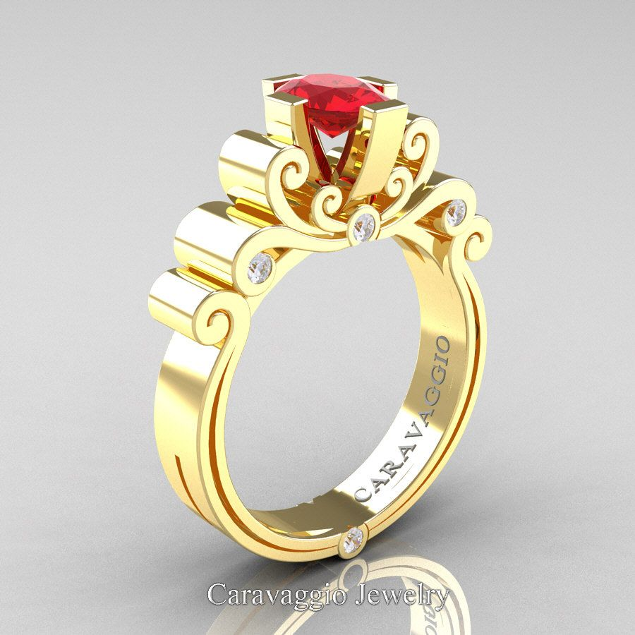 Caravaggio 14K Yellow Gold 1.0 Ct Oval Ruby Diamond Engagement Ring R639O-14KYGDR | Art Masters Jewelry