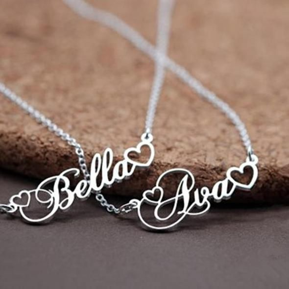 Handmade Personalized Name Pendant With Tiny Heart Cursive