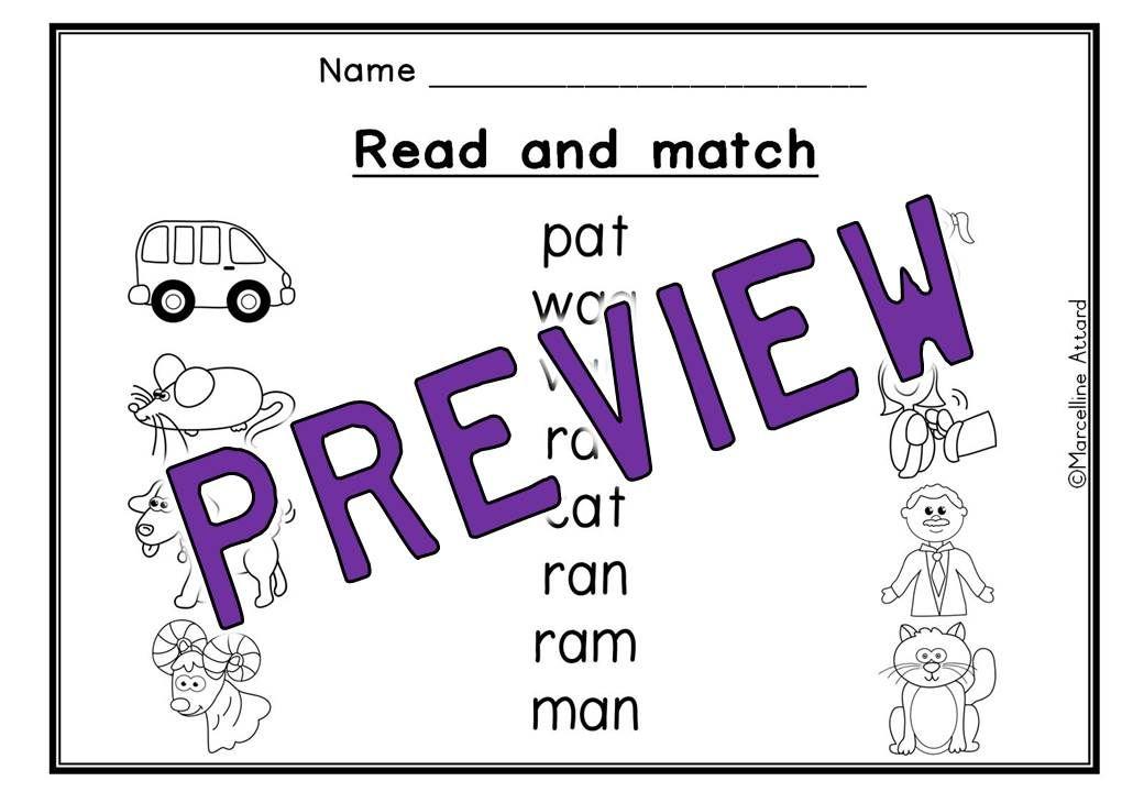 Short vowel worksheets (short a word work) kindergarten phonics ...