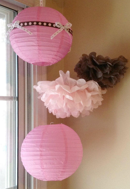 Tissue Paper Pom Poms & Paper Lanterns //Baby Shower/Nursery Decor ...