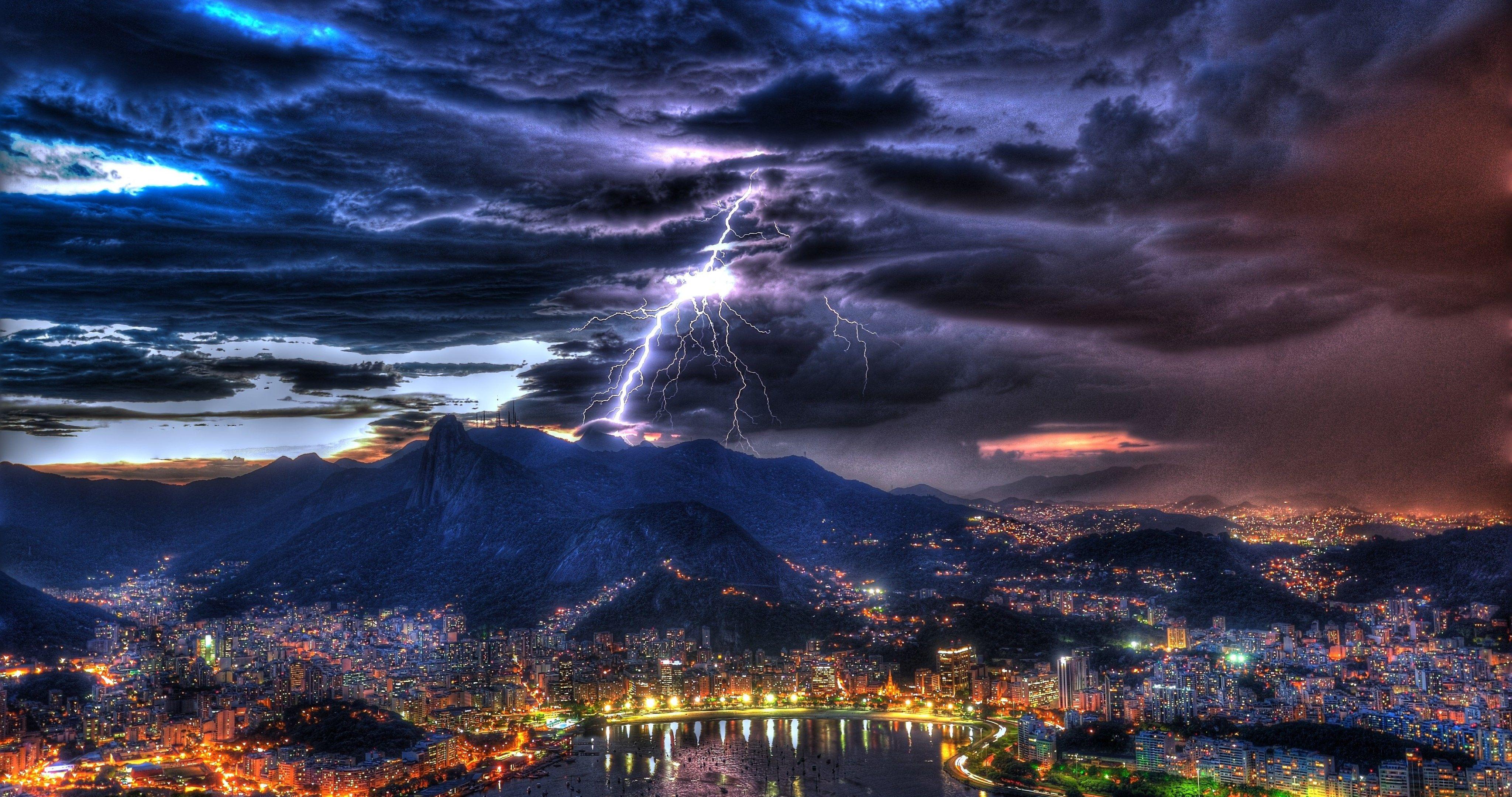 rio de janeiro brazil thunder 4k ultra hd wallpaper