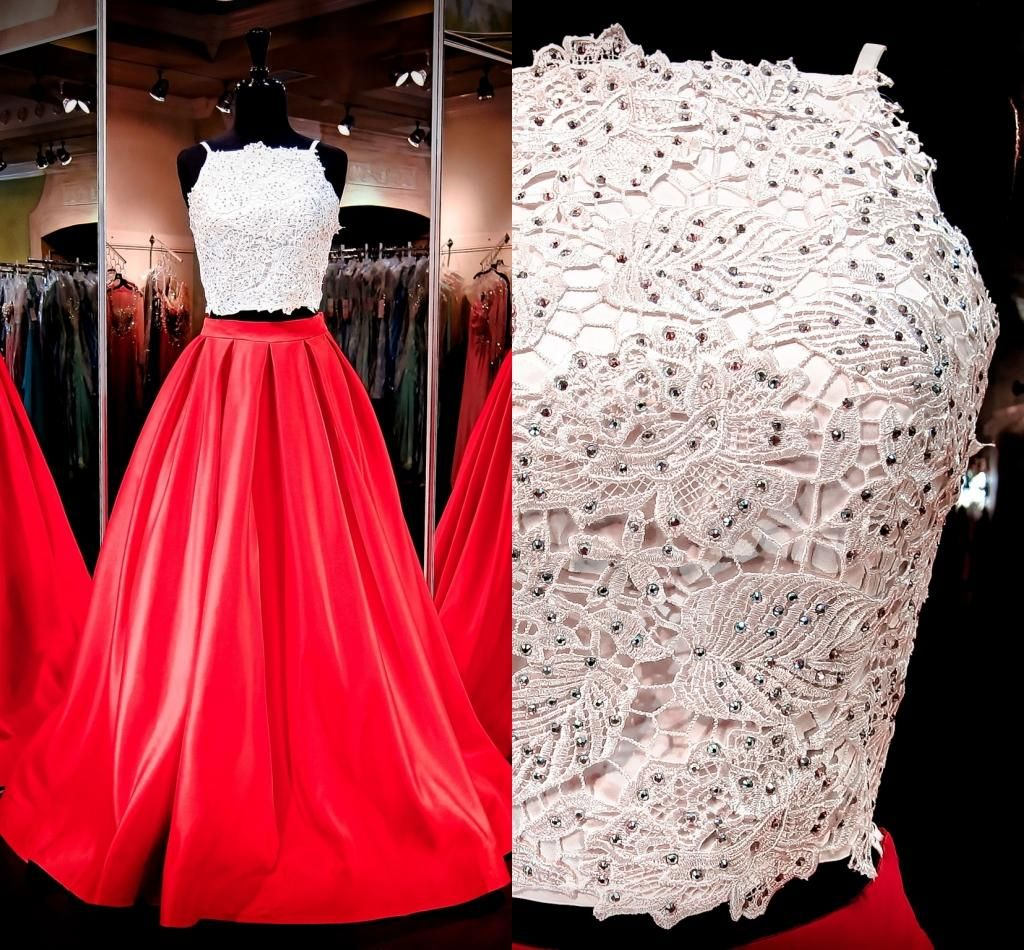 two pieces prom dresses real pictures spaghetti neck crystals