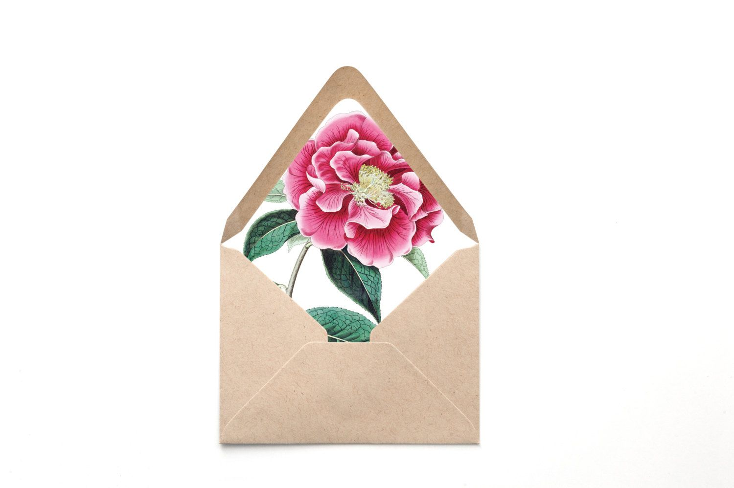 Printable Custom Envelope Liner Template Pink Peony Botanical