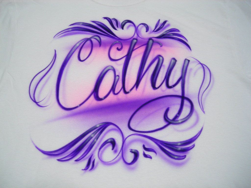 0aed97a3 Personalized T-Shirt With Your Name In Pink And Purple sz S M L XL 2XL  Youth XS S M L. $12.99, via Etsy.