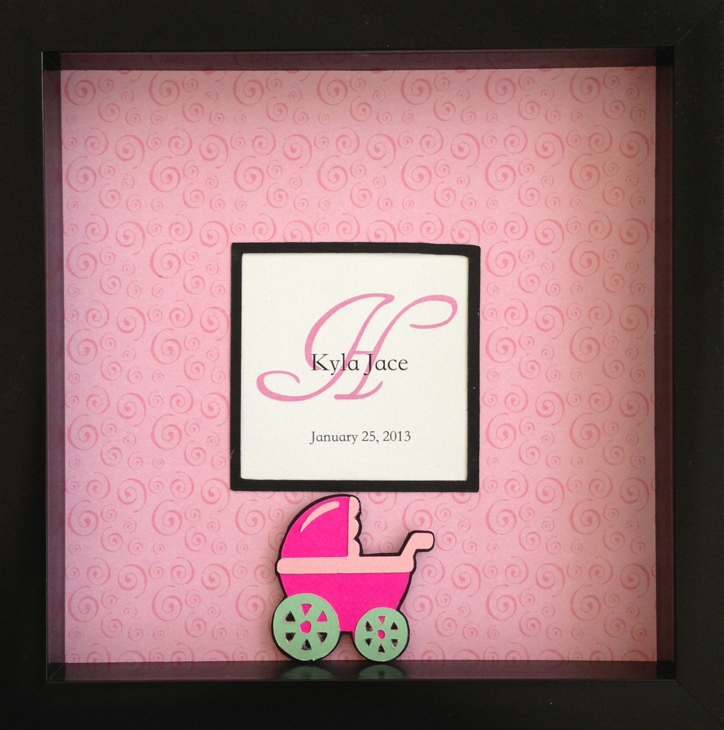 8X8 Personalized, 3D Stroller Picture In A Shadow Box Frame