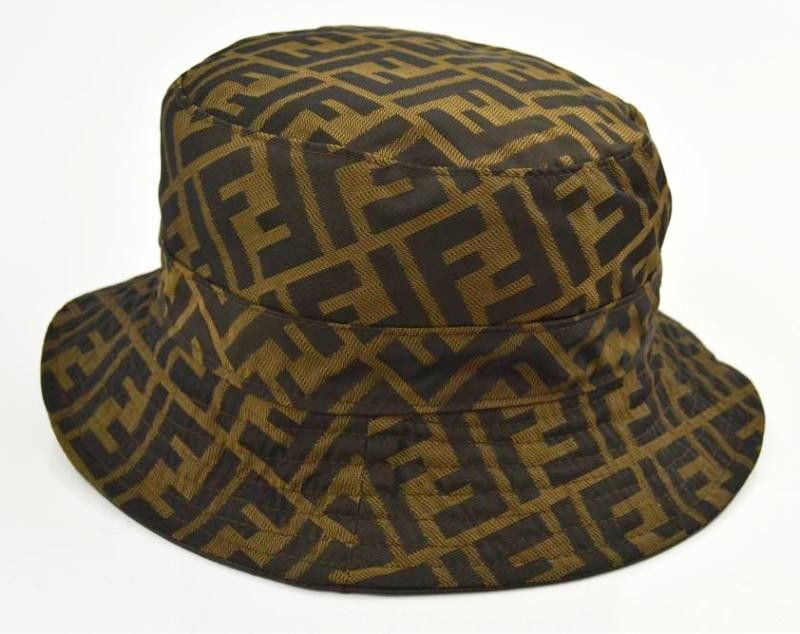 fa3dc1f2b9a Fendi Dark Chocolate Brown Leather Zucca Logo Reversible Bucket Hat ...