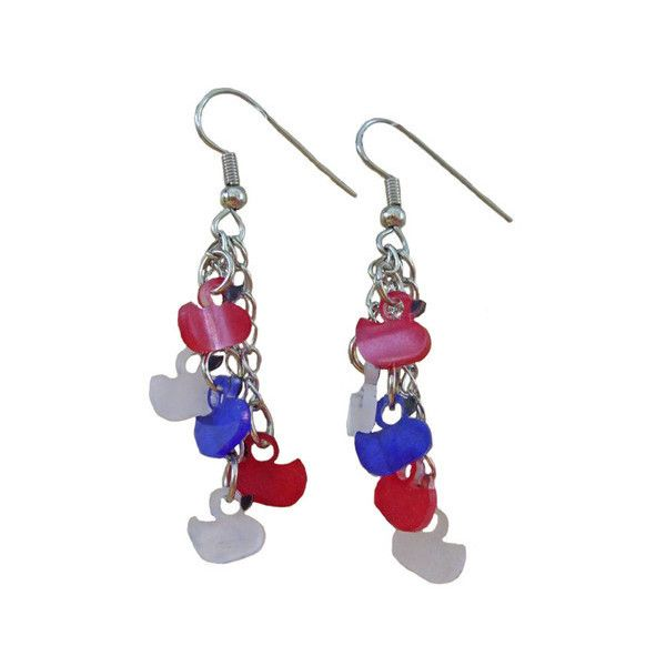 4th of July Duckie Earrings ❤ liked on Polyvore featuring jewelry, earrings, star earrings, star jewelry, lightweight earrings, long earrings and earrings jewelry