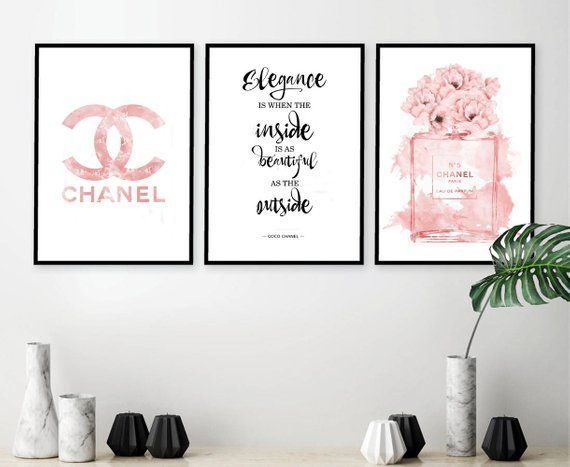 Inspired By Chanel Poster Set Of 3 Prints Fashion Wall Art Print Fashion Set Of 3 Pink Logo 75 Chanel Wall Art Fashion Wall Decor Inspirational Wall Art