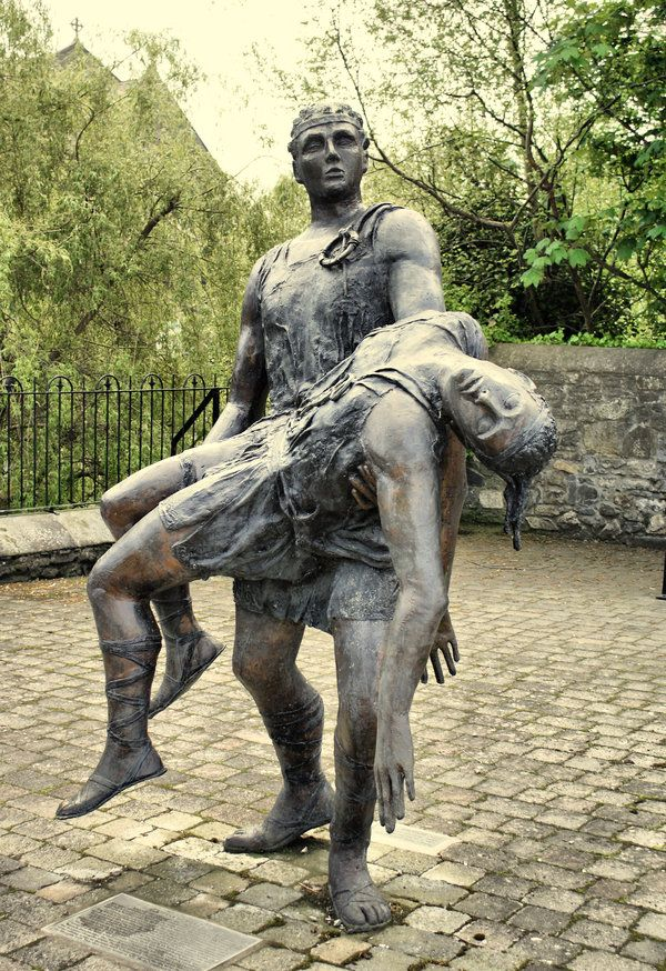 Statue of Cú Chulainn and Ferdia in County Louth. Cú Chulainn is an Irish mythological hero who appears in the stories of the Ulster Cycle, as well as in Scottish and Manx folklore.