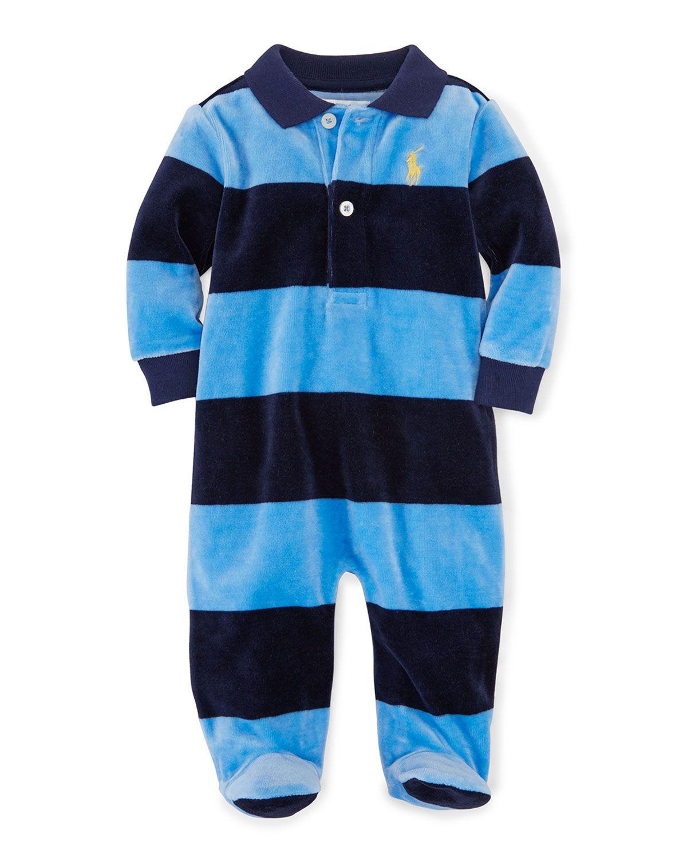 aa4663c3ccb5 Striped Velour Footie Pajamas