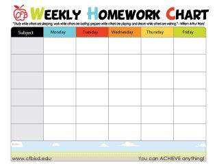 Printable homework chart to help keep kids organized also free charts school pinterest rh