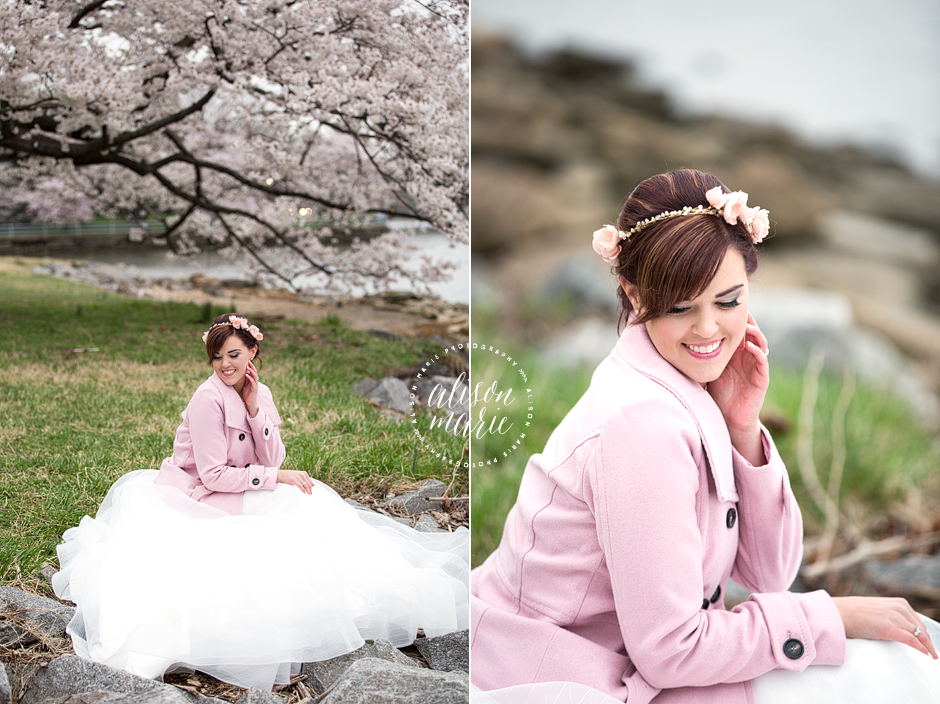 Washington DC | Cherry Blossoms | Bride in Pink Pea Coat | Unique Wedding Style | Hayley Paige Wedding Gown Courtesy of The Dress Theory | All About Romance Custom Cherry Blossom Hair Piece | Photo Credit: Alison Marie Photography | Styled Shoot by Julie Paisley Photography