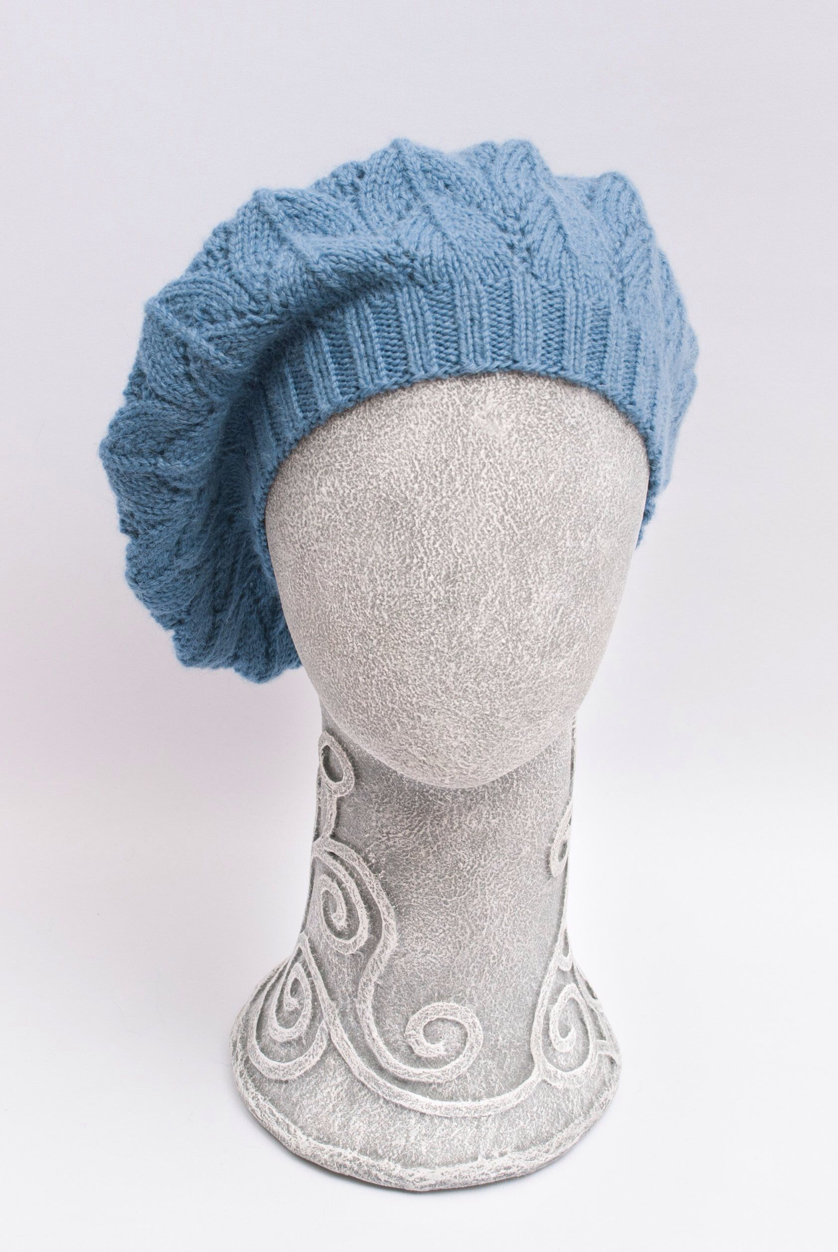 7704343bb67 Slouchy light blue alpaca wool beret. Hand Knit autumn spring hat with lace
