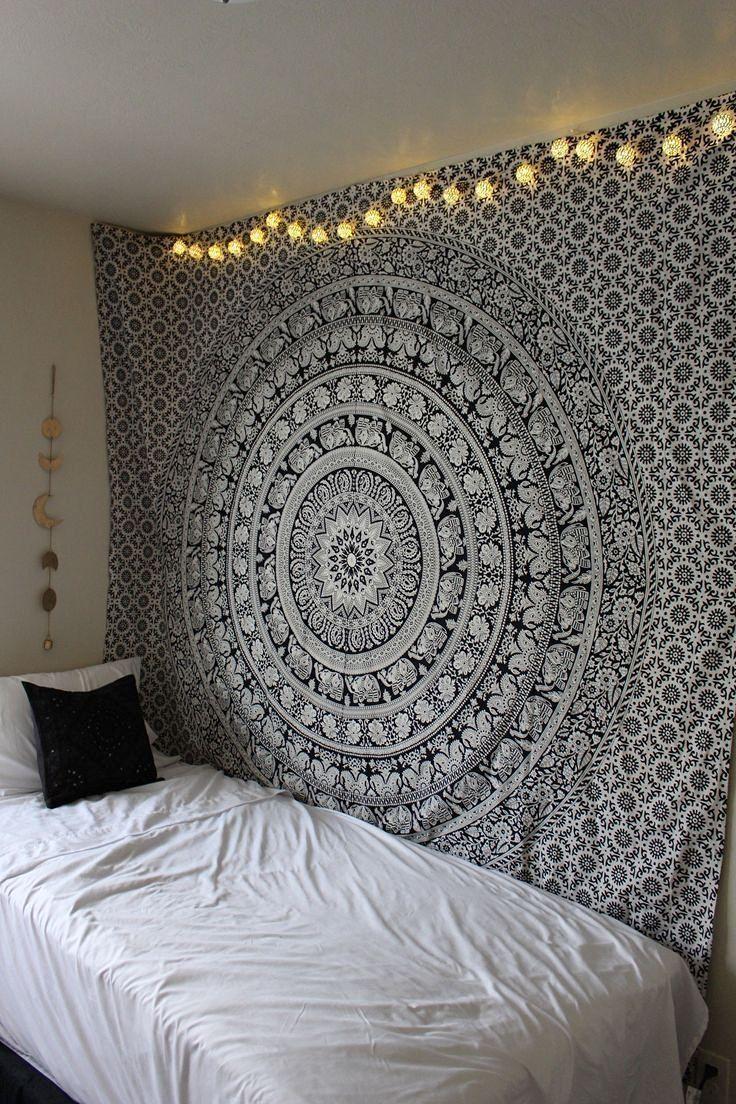 Chambre Noir Blanc Et Or décoration de chambre 100% coton imprimé à la main