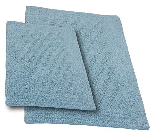 2-Piece Cotton Non Skid Bath Rug Set Tufted Thick Washable Bathmat Ocean Blue