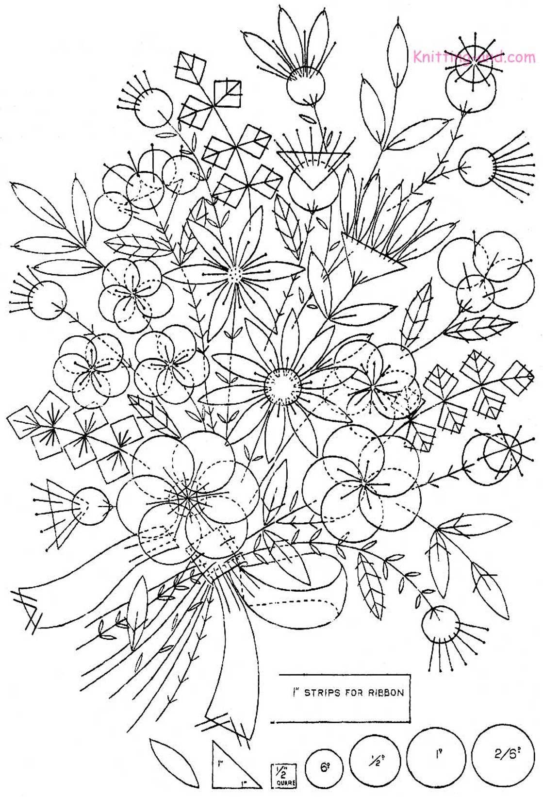 Free embroidery pattern felt appliqué bouquet c 자수