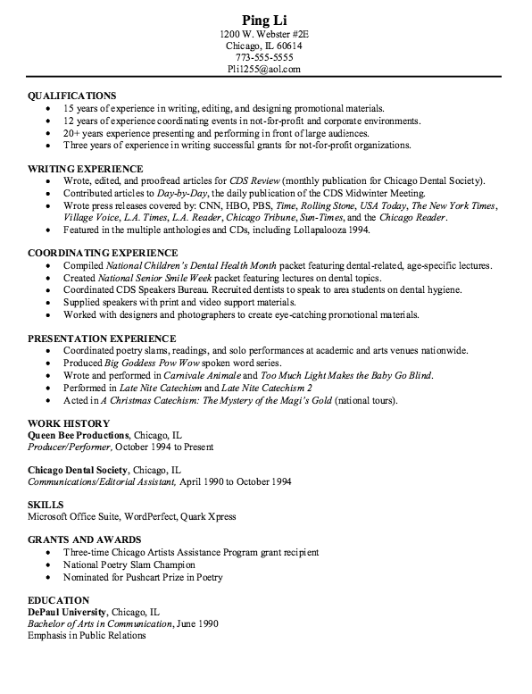 Example Of Communication Position Resume  HttpExampleresumecv