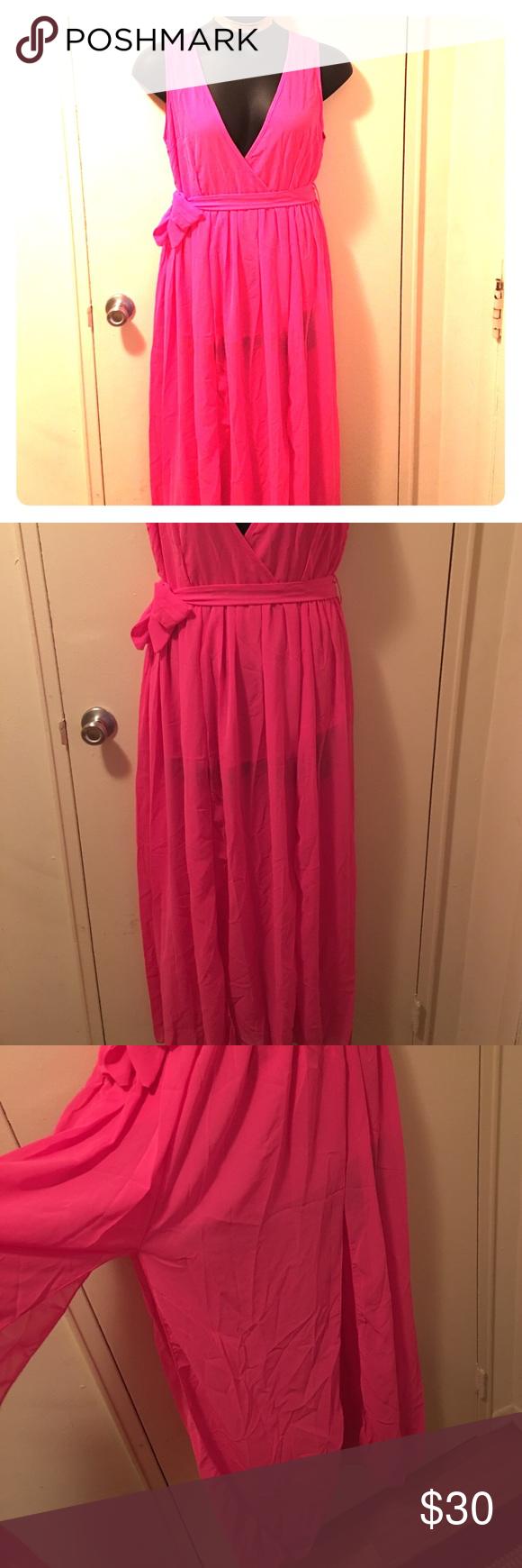 Hot pink maxi dress  Pretty in Pink Hot Pink high split maxi dress  Pinterest  Online
