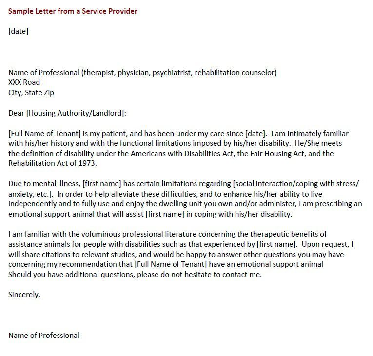 Sample Letter From A Service Provider Emotional Support Dog Service Dogs Emotional Support Animal