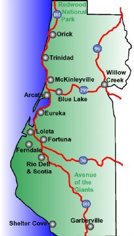 Orick California Map.Some Towns Of Humboldt County California Once You Get Here Not