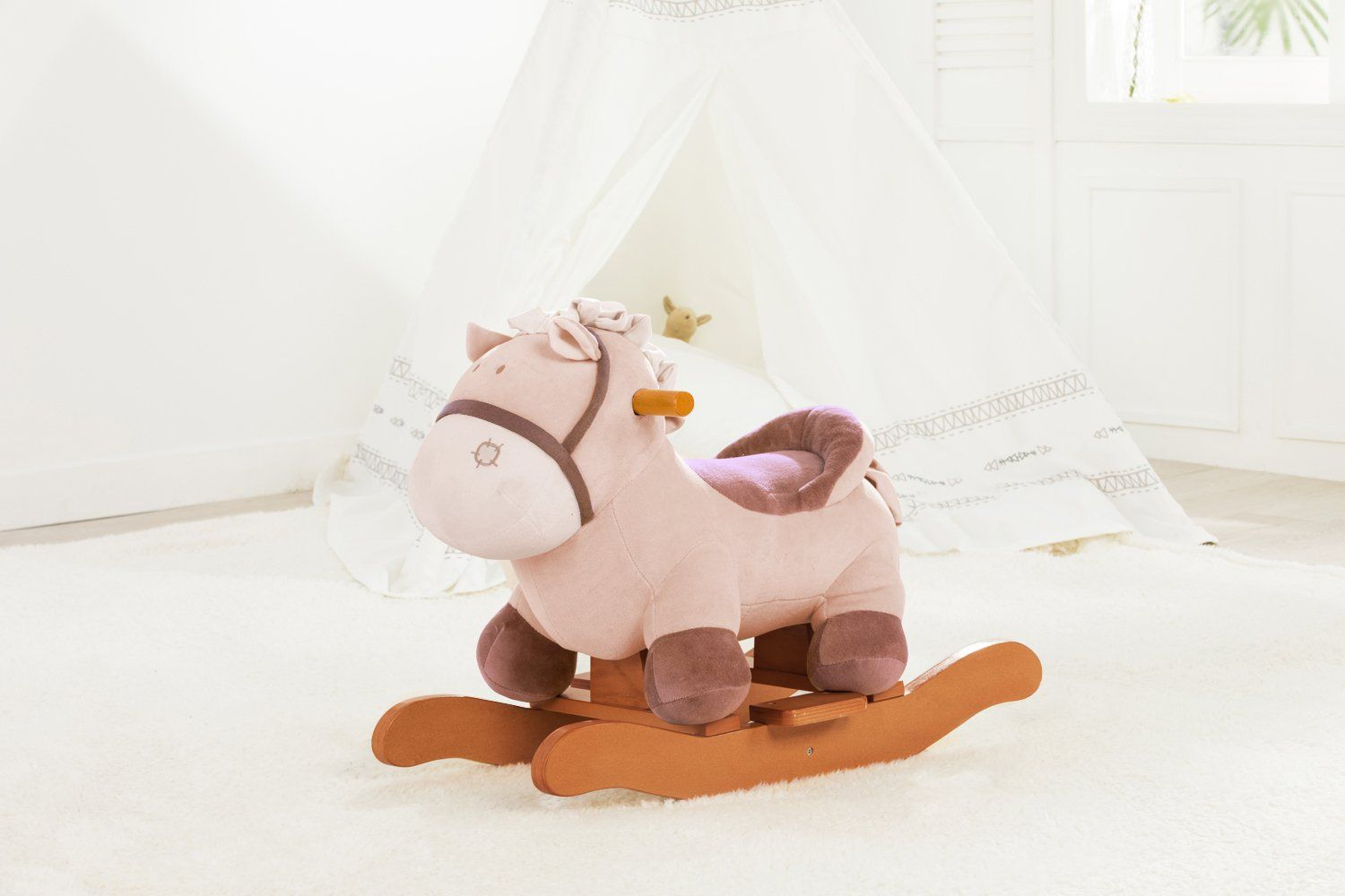Animal Rocking Chair Massage Outlet Labebe Child Horse Toy Stuffed Rocker Khaki Donkey Printed Wooden For