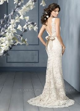 open back lace wedding dress, imagine with a deep orchid sash...