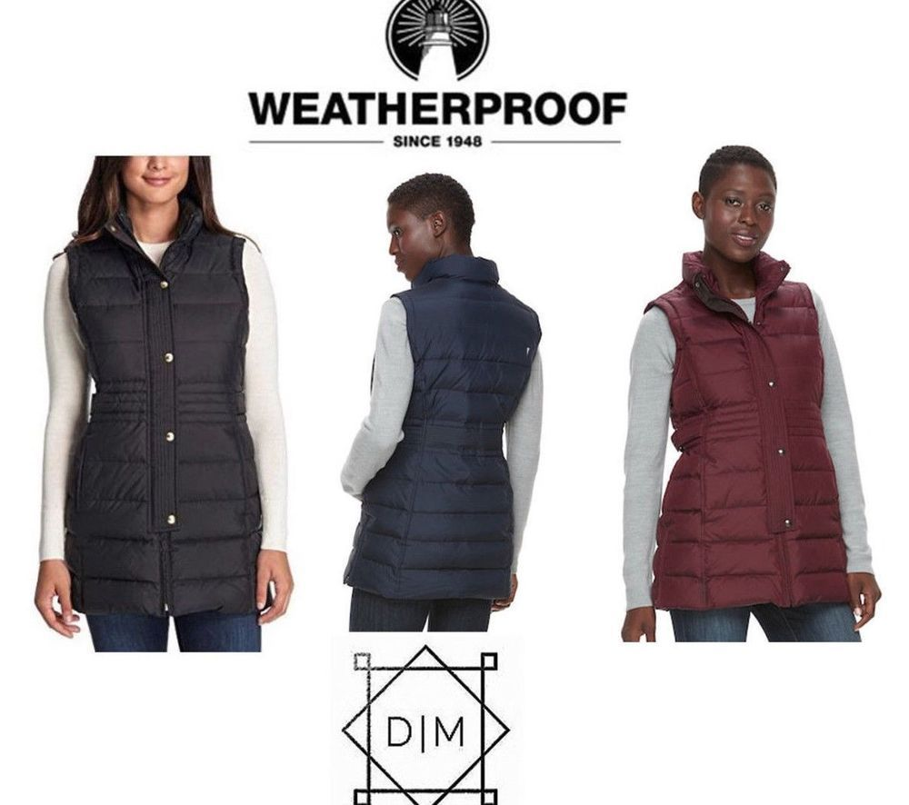 8b3bd24f4ef29 NWT - Weatherproof Women s Long Down Fill Puffer Vest - Navy Large  fashion   clothing  shoes  accessories  womensclothing  coatsjacketsvests (ebay link)