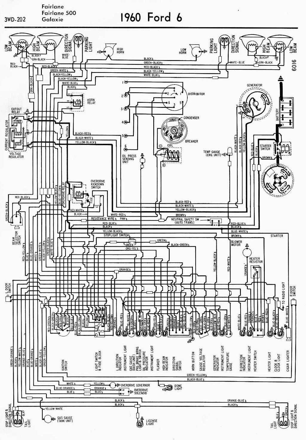 wiring diagram for 1960 ford 6 fairlane fairlane 500 and ...