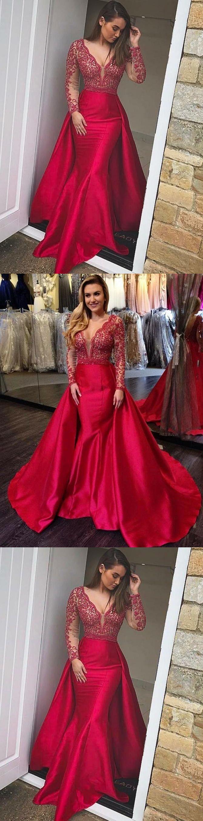 mermaid long prom dresses red long sleeve beading prom dress