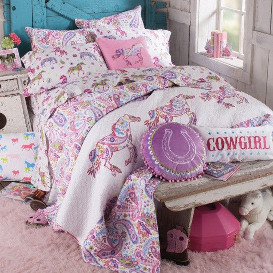 Adorable Full Kids Bedroom Set For Girl Playful Room Huz: Pony Paisley Bedding Collection- This Would Be So Cute For