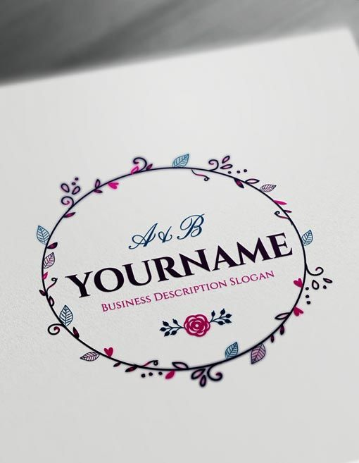 Online Floral Frame Logo Free Vintage Logo Maker | Pinterest